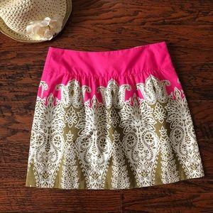 Tibi Pink and Paisley Print A-Line Skirt